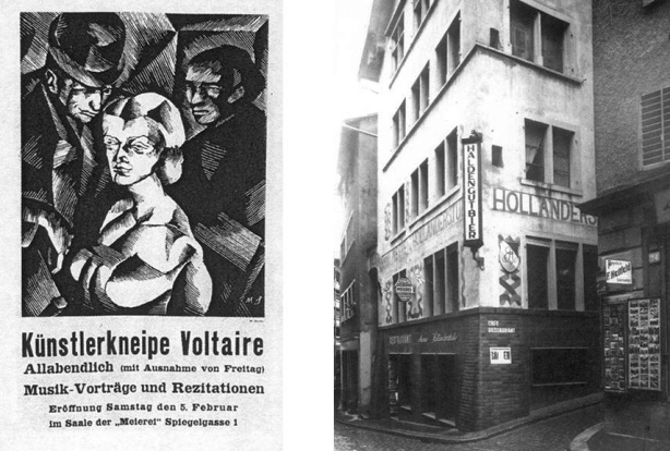 Left-Poster-for-Kunstlerkneipe-Voltaire-made-in-1916-for-February-5th-Right-Spiegelgasse-1-Location-of-Cabaret-Voltaire